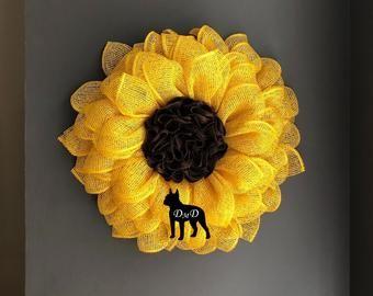 Photo of Sunflower wreath, summer wreath, front door wreath, wreath for front door, burlap wreath, autumn wreath for front door, front door decor