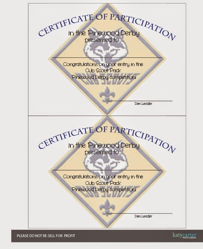 Cub Scout Printable Certificate of Participation for pinewood - printable certificate of participation