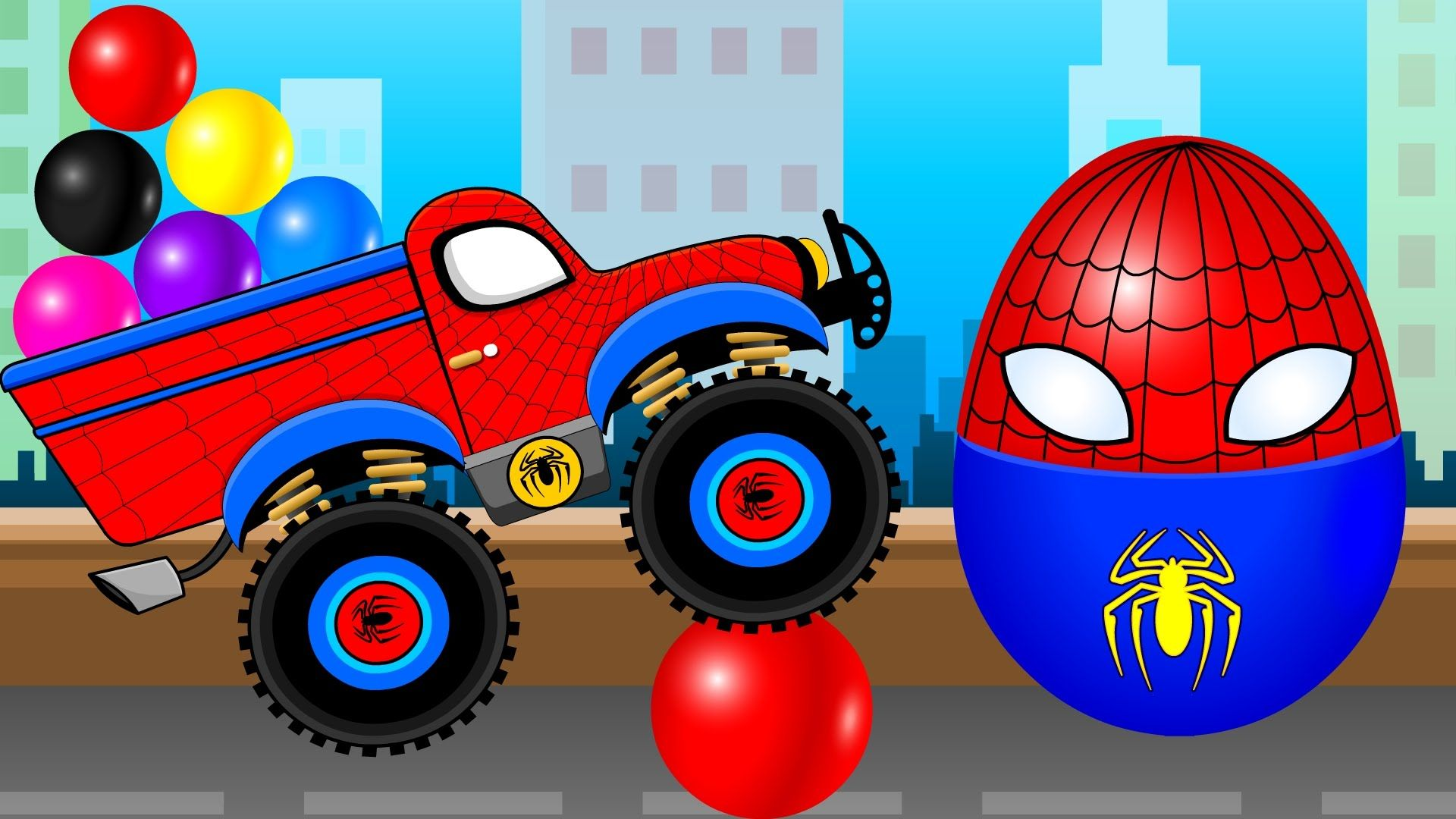 Learn Colors For Kids With Spiderman Truck Cartoon And Nursery