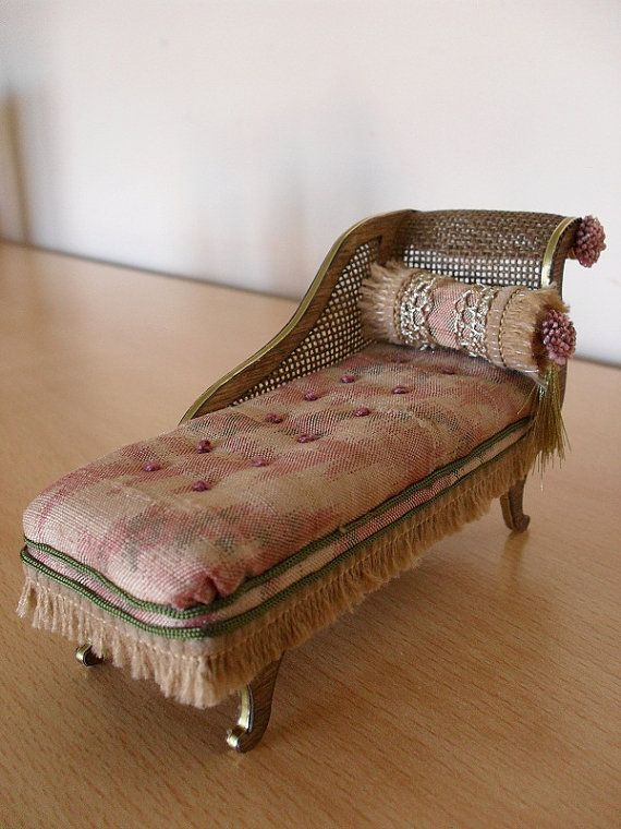 Dollhouse miniature antique chaise longue English by JoMed $49.00 : mini chaise lounge chairs - Sectionals, Sofas & Couches