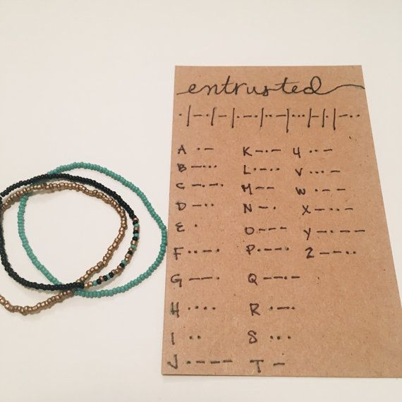 Customizable Morse Code Bracelet Set:   - 2 solid colored bracelets  - 1 customized morse code bracelet - Message Decoder Card  Message must be short and sweet. For example:   Kerstin McKenzie   I love you   Jeremiah 29:11  Please indicate the following things in the Note to Seller box at checkout:   - 1 color for dot   - 1 color for dash   - 1 base color   - message   - 1-2 color(s) for solid bracelets  Color Choices: *listed in order shown in pictures...   - gray  - silver  - silver 2…