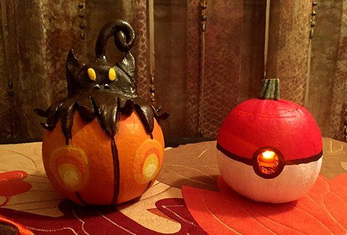 Pokémon (@Pokemon) | Twitter.  Amazing Pumpkaboo and Poké Ball pumpkins! Thanks for sharing your #PokemonHalloween photo, Trainer Christina!