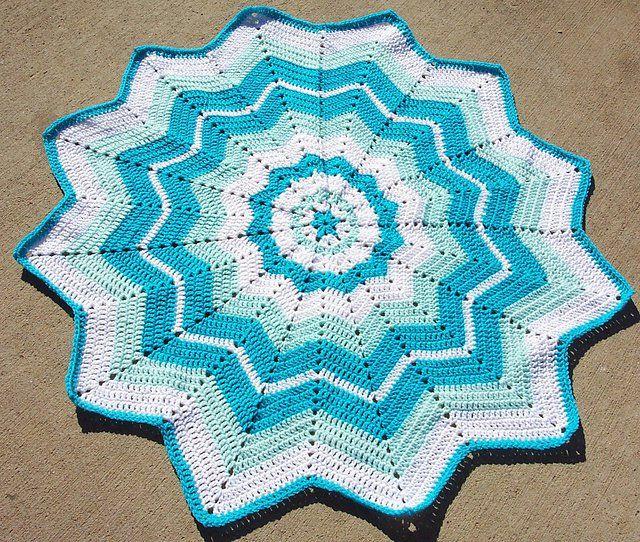 Round Ripple Afghan Baby Blanket Free Crochet Pattern   Tejido