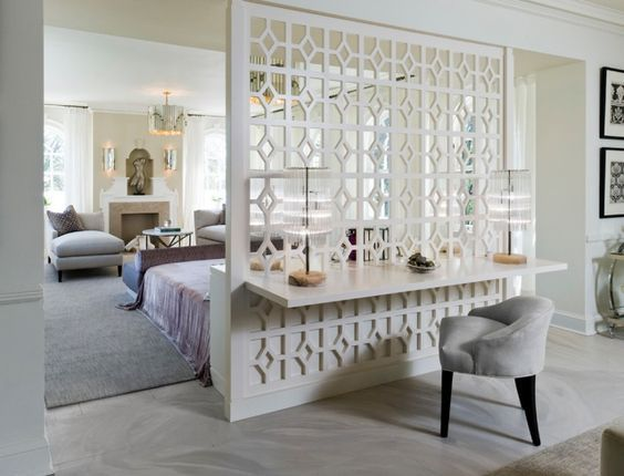 Raumteiler Schlafzimmer ~ Raumteiler schlafzimmer wohnbereich dekorative wand bedroom