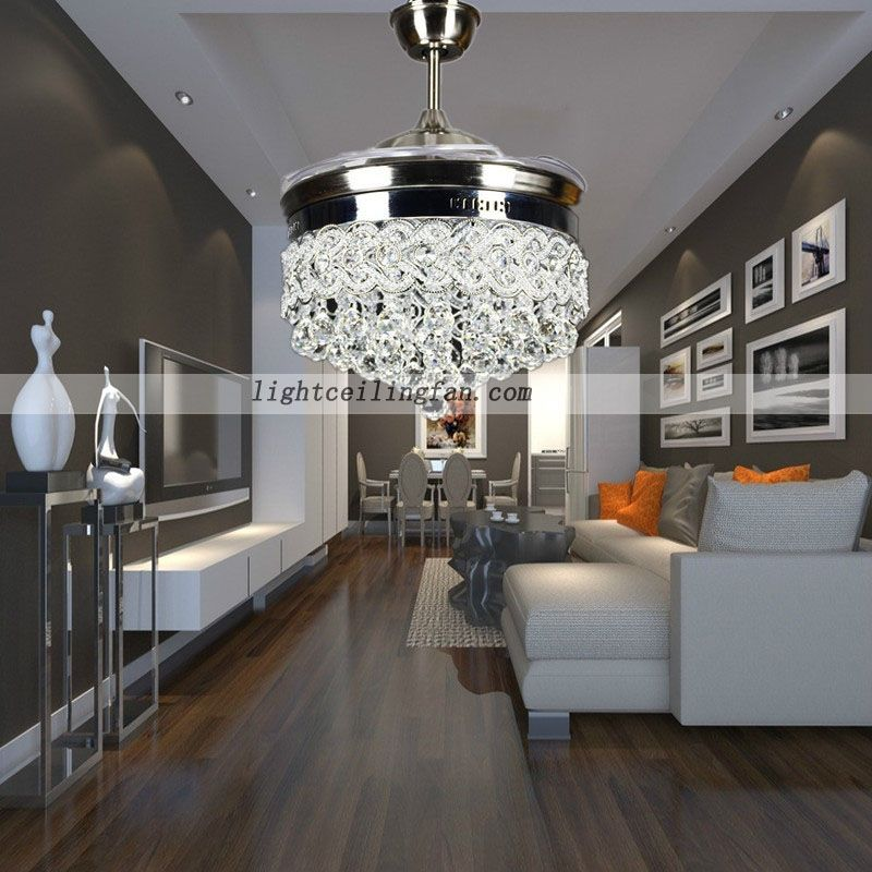 The Retractable Crystal LED Ceiling Fan Functions Both As A Light Pendant  And A Ceiling Fan. The Unit Effectively Hides The Blades From View When Not  In