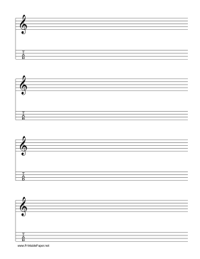 image about Printable Tablature Paper referred to as Printable Staff members and Tablature-Treble Clef-4 traces New music