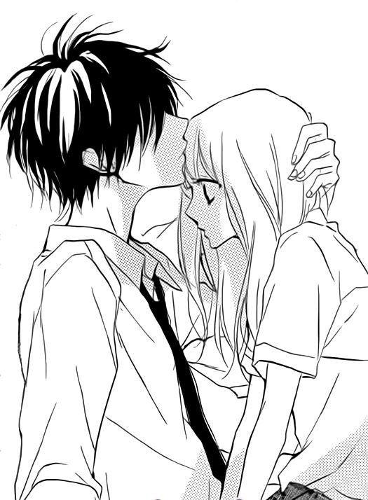 Черно-белые картинки аниме любовь