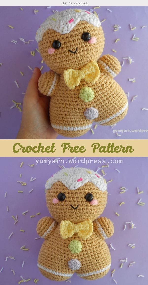 Gingerbread Man Amigurumi Crochet Free Pattern