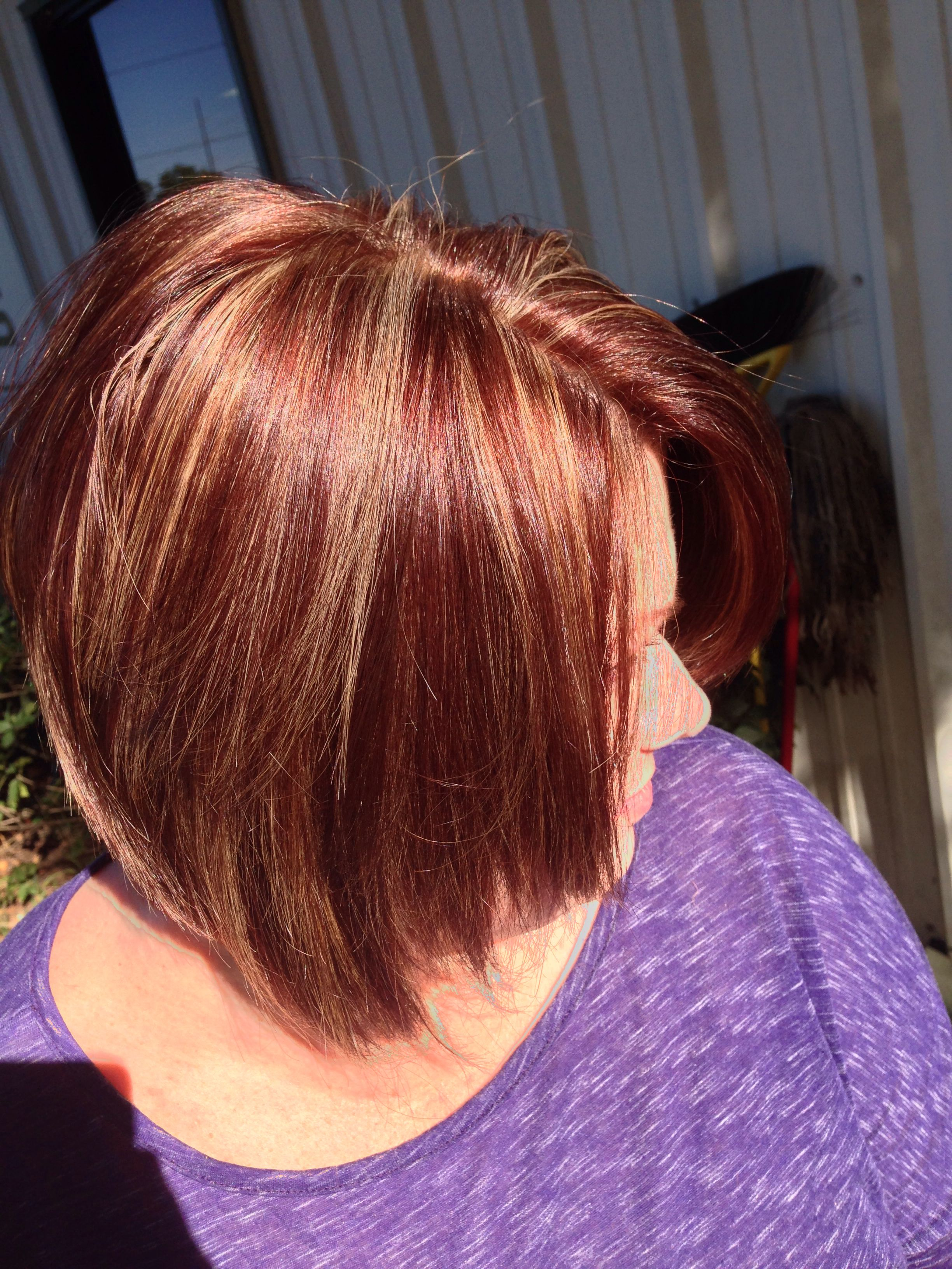 Red Browngold Violet With Caramel Highlights Fall Hair Color