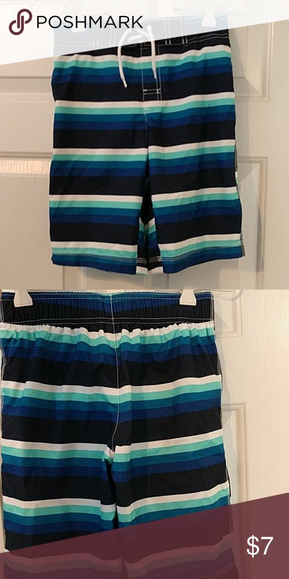 d55acbfdbd Boys swim trunks size 7/8 Blue green white and black striped boys swim  trunks. Gymboree Swim Swim Trunks