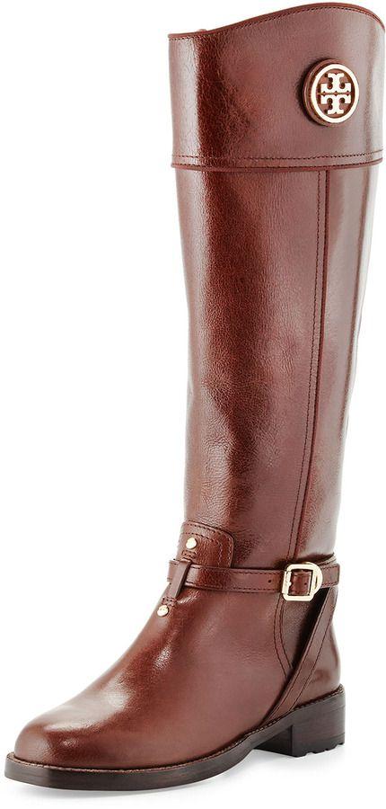 Tory Burch Teresa Logo Riding Boot, Almond Cheap Boots, Cool Boots, Troy  Burch 91e14b4524dc