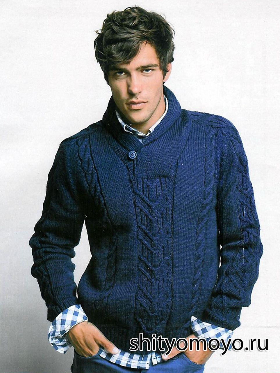 Мужской пуловер с воротником-шалькой, связанный спицами ...