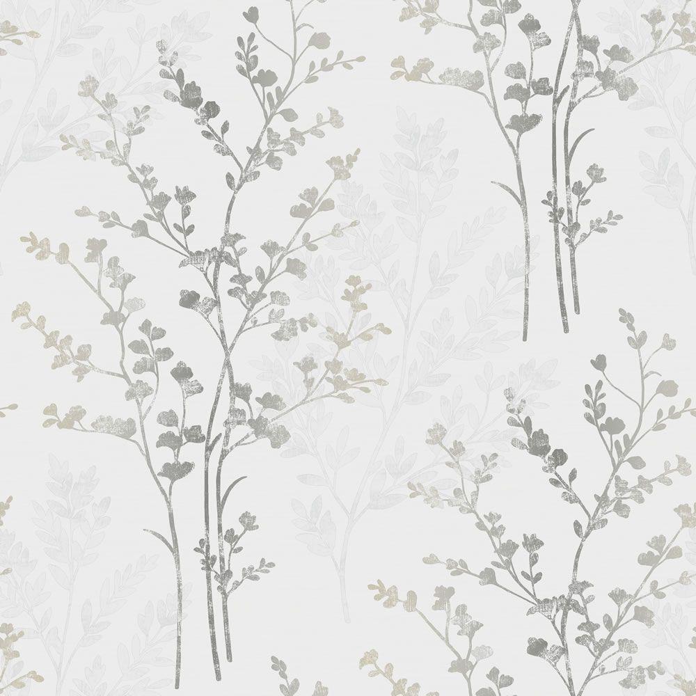 Home diy wallpaper illustration arthouse imagine fern plum motif vinyl - Arthouse Imagine Fern Motif W P Silver Wallpaper 12 99 Roll