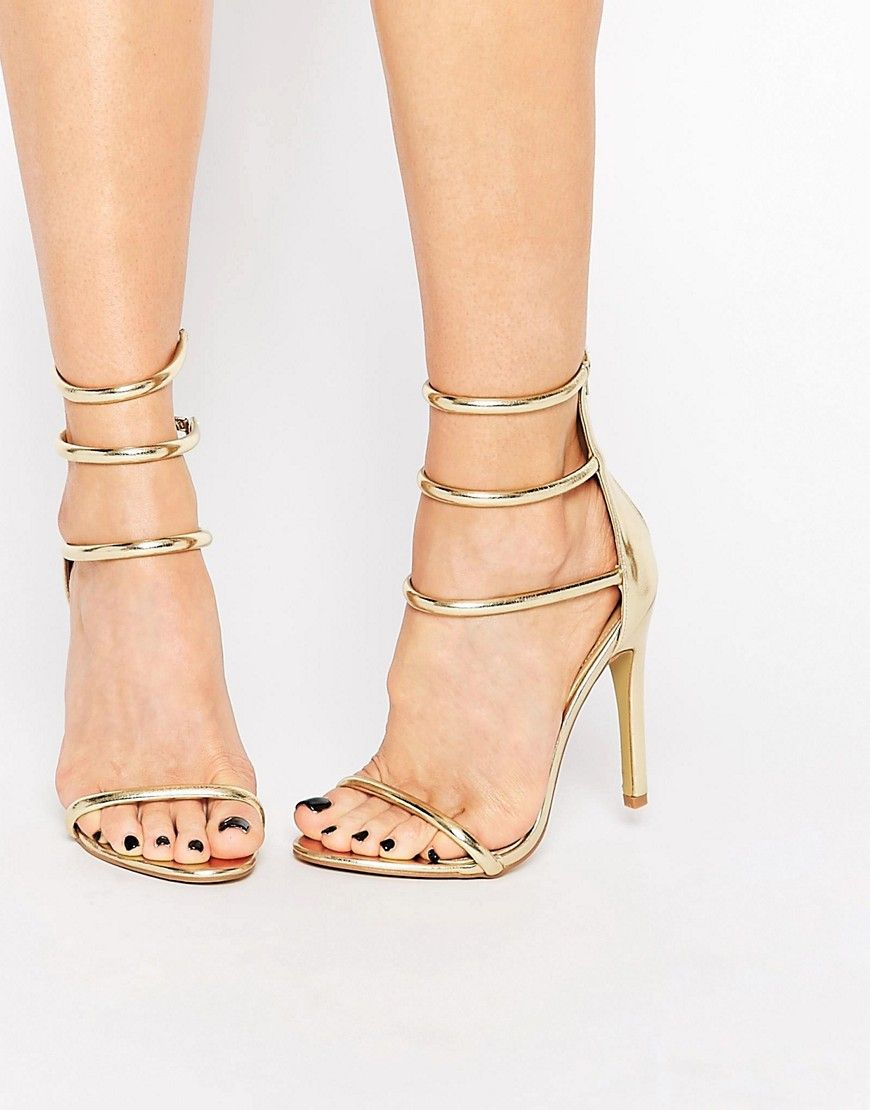 42eeb910b97 Image 1 of Public Desire Nikki Gold Strappy Heeled Sandals