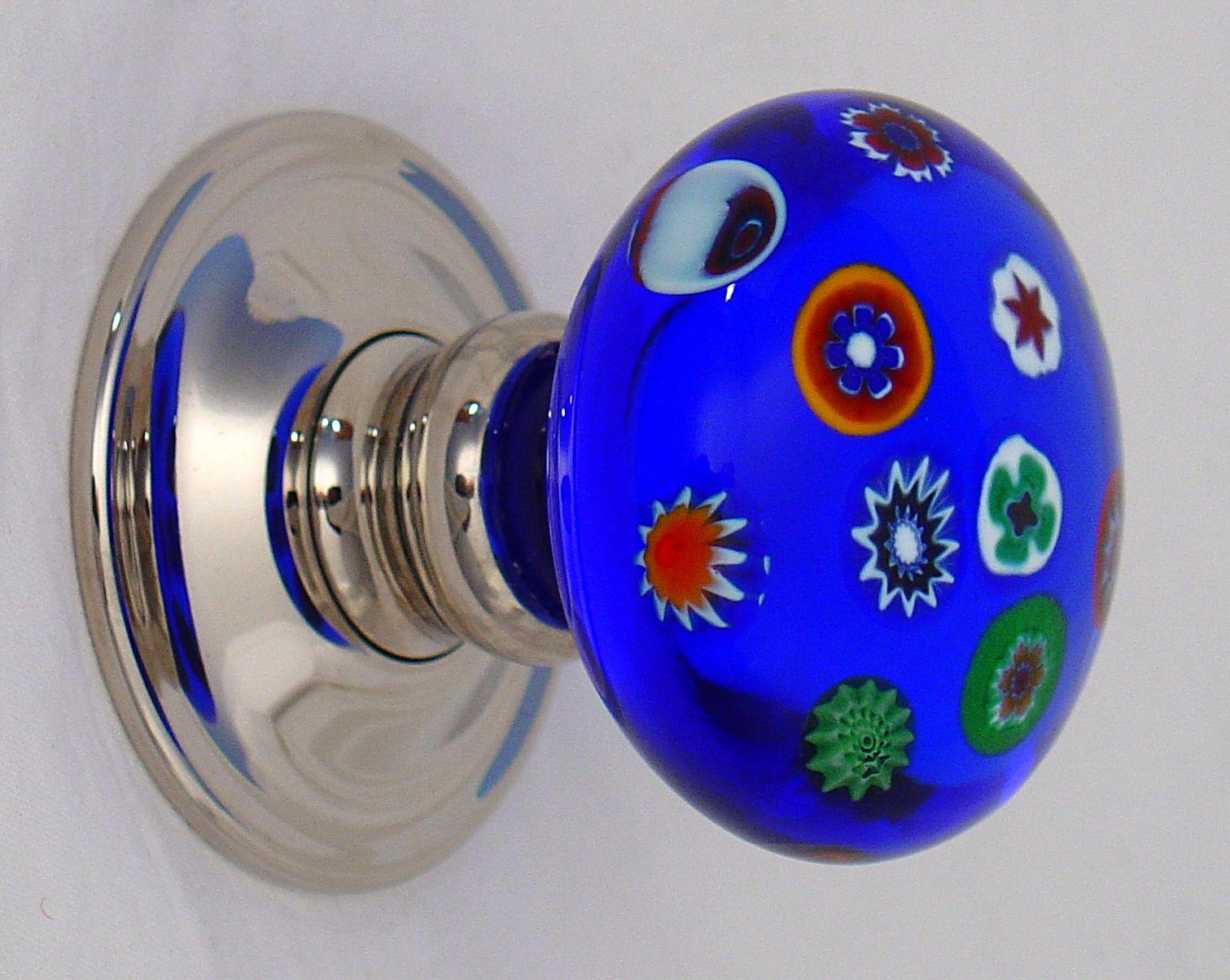 Cobalt Blue Millefiori Glass Door Knob By Merlin Glass