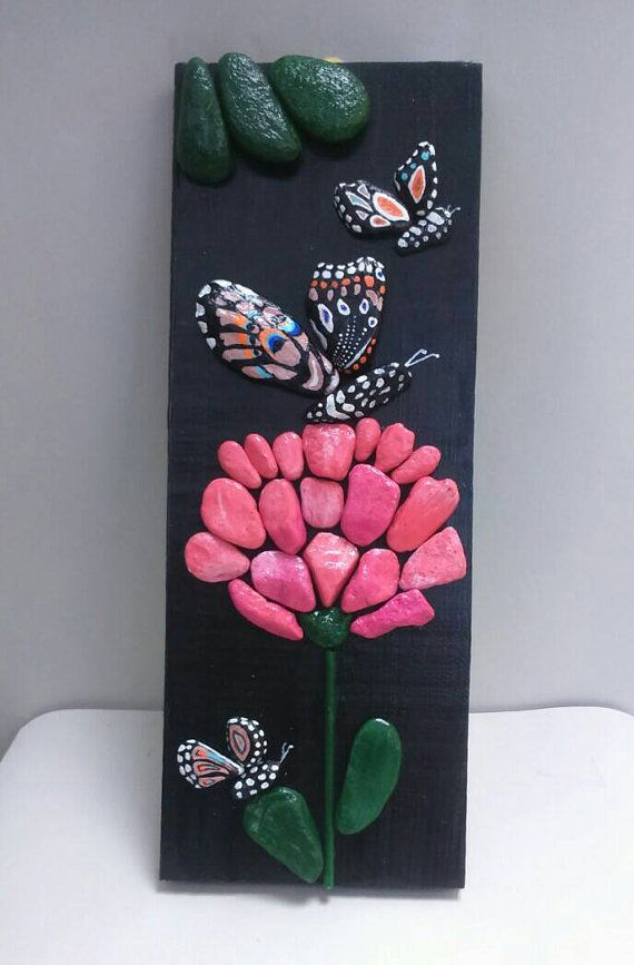 Pebble Art Butterfly Pink Flower Stone Art Beach Stone