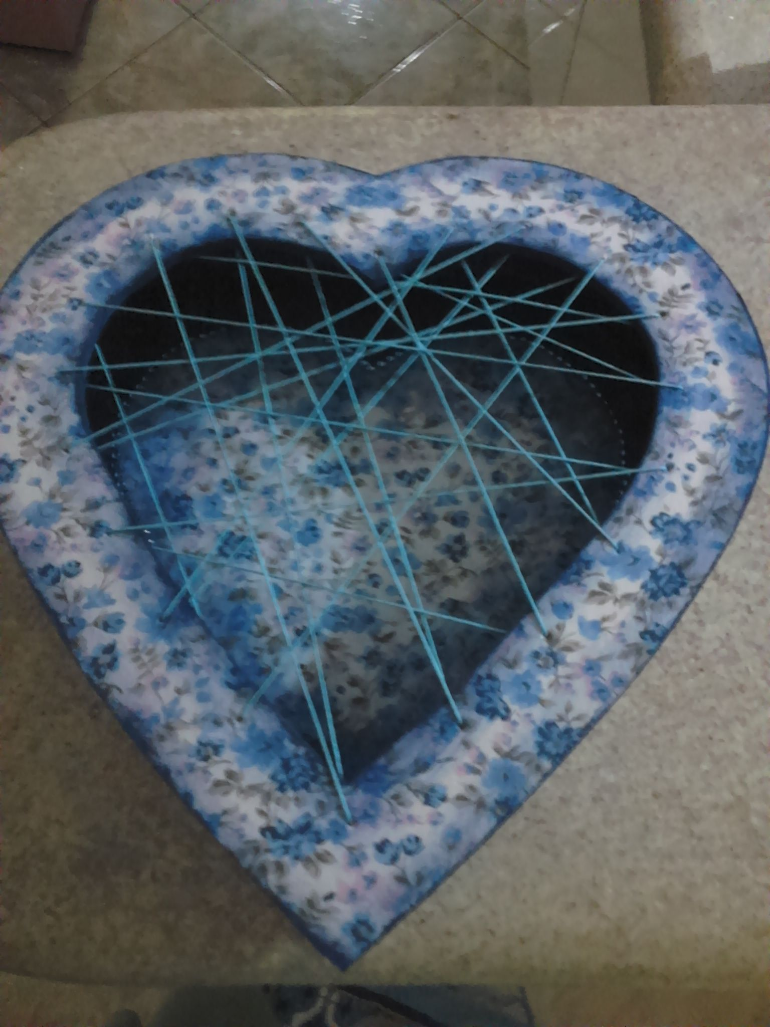 caixa coração revestida em tecido - Ateliê Cantinho Doce