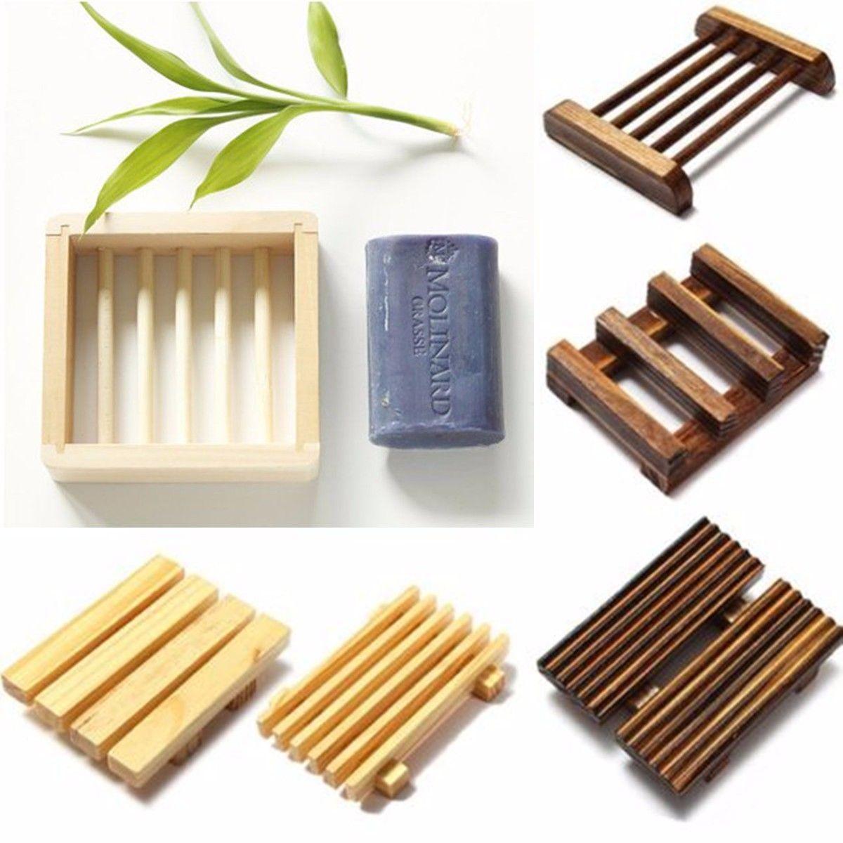 Hot Natural Wood Wooden Soap Dish Storage Bath Shower