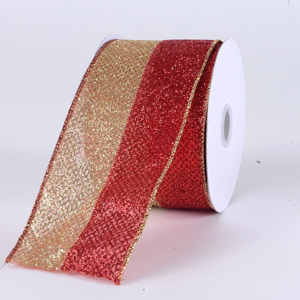 christmas ribbon red with gold 2 12 inch x 10 yards