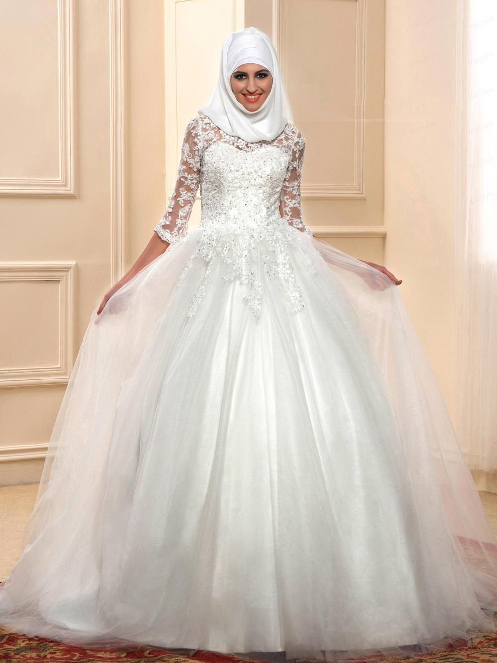2016 Arabic Muslim Wedding Dresses White Hijab Gowns 3 4 Long Sleeves Beading Appliques Beaded