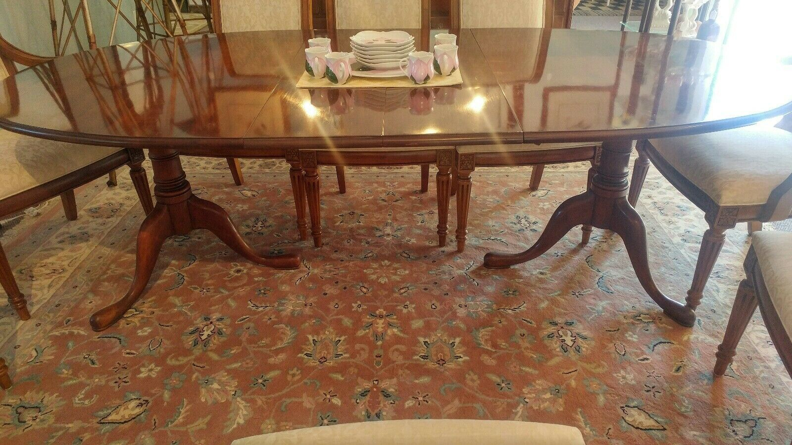 Vintage Statton Dual Pedestal Solid Cherry Dining Table Extendable