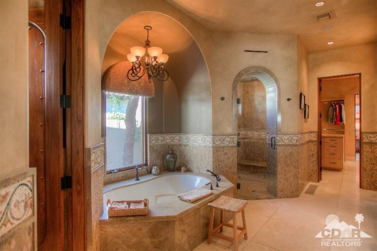 Mediterranean Master Bathroom With Designer Kira 72 X 32 Soaking Bathtub By Hydro Systems