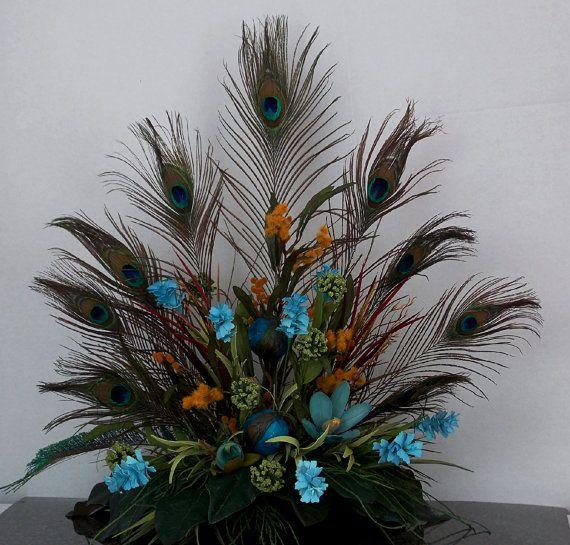 Pea Fl Arrangement Tuscan Style Design Gift Ideas Blue Gold Feather Wedding On Etsy 69 00