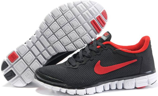 3e9ccd6ce912 Nike Free 3.0 V2 Mens Running Shoes Black Red 354574 005