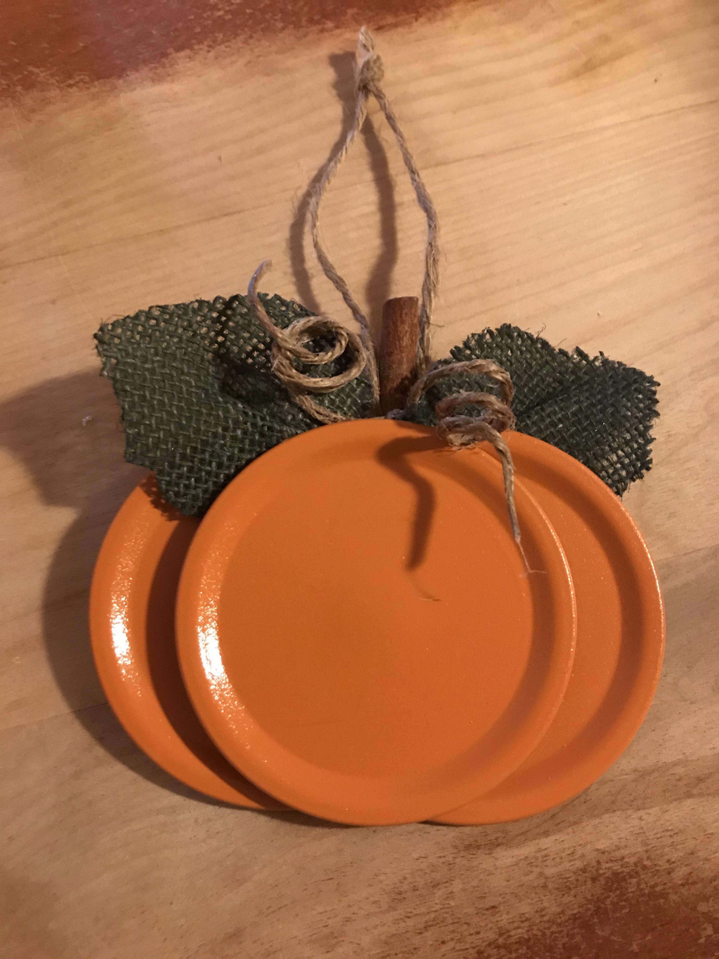 Mason Jar Lid Pumpkin That I Made