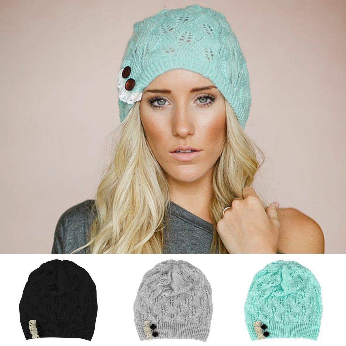 f071bfa1a4c Fashion Women Winter Warm Beret Braided Baggy Knit Crochet Beanie Hat Ski  Cap