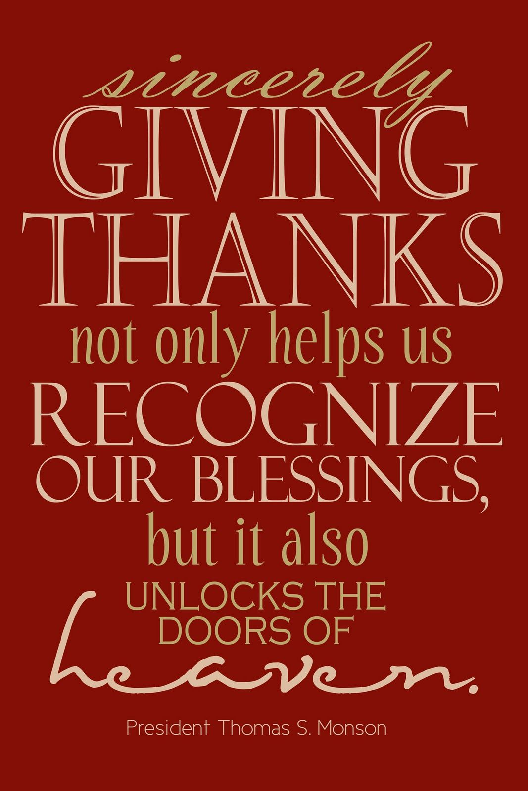 Sincerely Giving Thanks