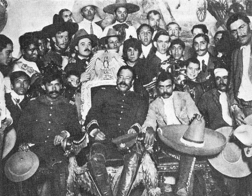 Emiliano Zapata, Jose Vasconcelos, Pancho Villa and Eulalio Gutierrez at a Banquet at the Palacio Nacional, Mexico City, 1914.