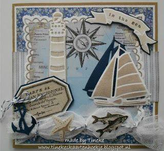 card nautical anchor sailboat lighthouse Marianne design die Eline's Beach House stamp set - Ik won bij AnMa creatief