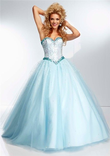 Princess Ball Gown Sweetheart Light Baby Blue Tulle Beaded Prom ...