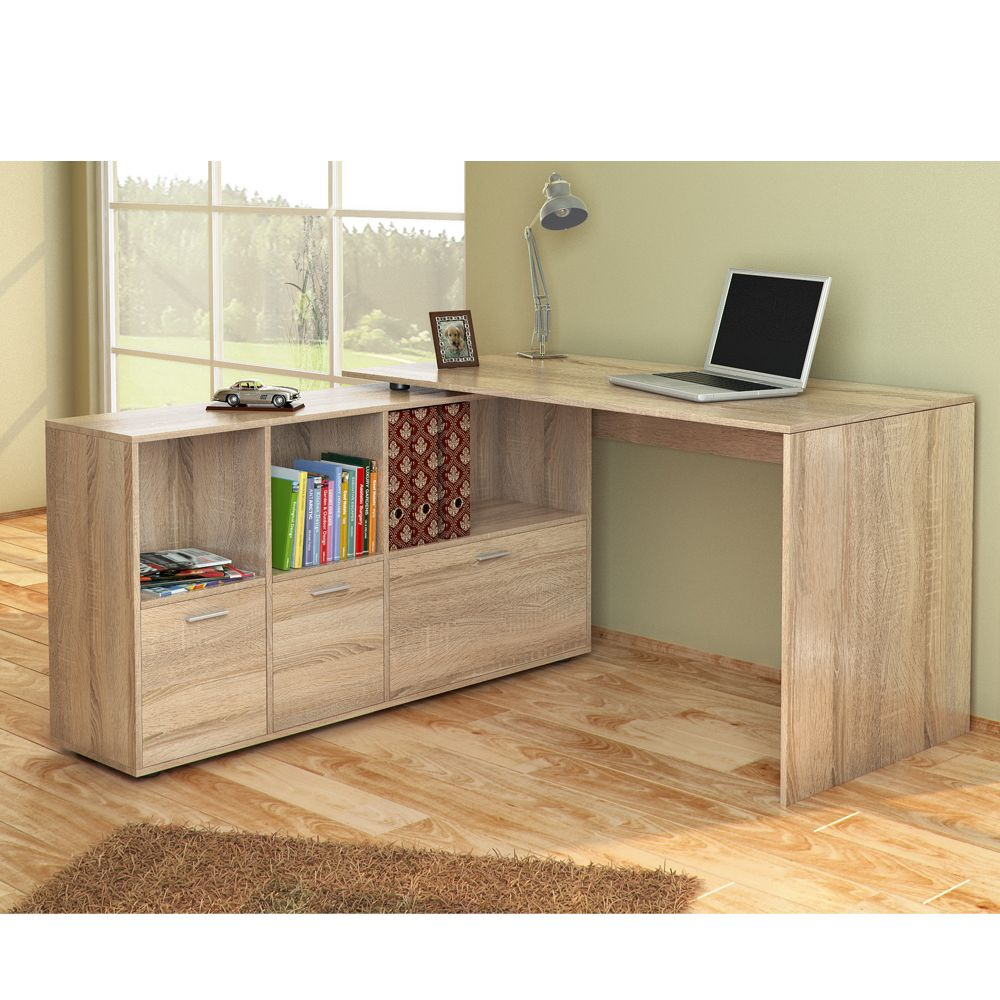 bureau en u bureau d 39 angle bureau multim dia de couleur ch ne de sonoma ebay reception desks. Black Bedroom Furniture Sets. Home Design Ideas