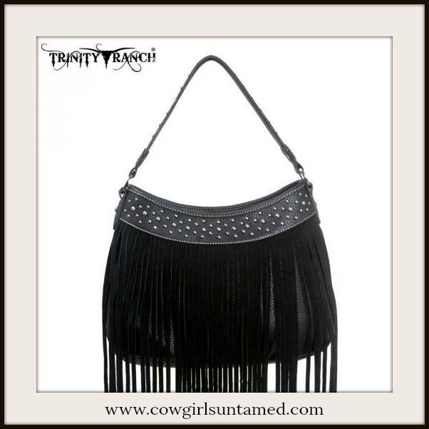 15f172b2a2 BOHO CHIC HANDBAG Silver Studded Black Fringe Leather Handbag GENUINE  LEATHER  handbag