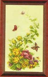 Cross stitch - flowers: roses, poppies and pansies (free pattern with chart)