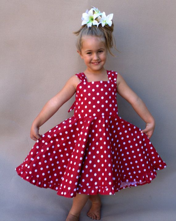 d3357ed9fd2 Girls red dress Red and white polka dot by PapatyaGirlsCouture