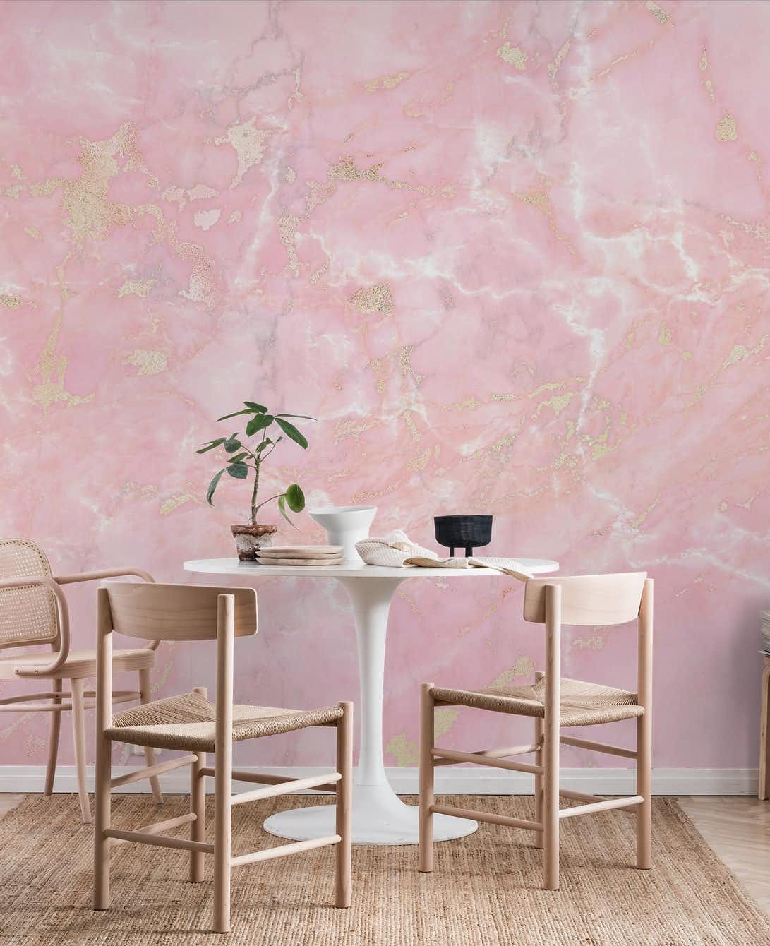 Rose Gold Metal Veins on Light Pink Marble Wall Mural
