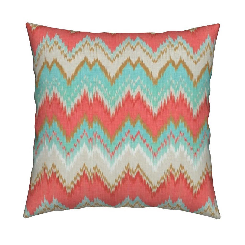 Catalan Throw Pillow Featuring Ikat Chevron In Mint Gold And Coral Pink By Willowlanetextiles