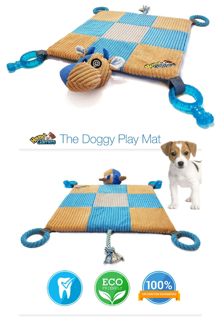 Houndgames The Doggy Play Mat V2 0 Puppy Teething Toys Chew Rope Dental Squeaker Plush Padded Mat Idea Puppy Toys Teething Toy Puppies Puppy Teething