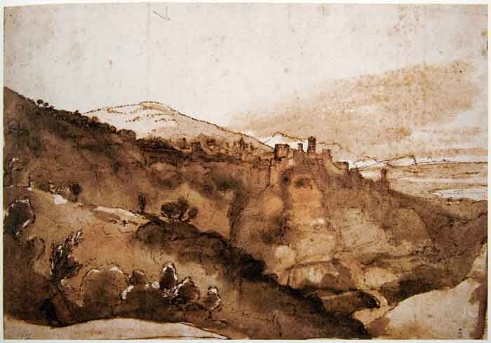claude lorrain (1600-1682) - view of tivoli, pen and brush with brown wash drawing