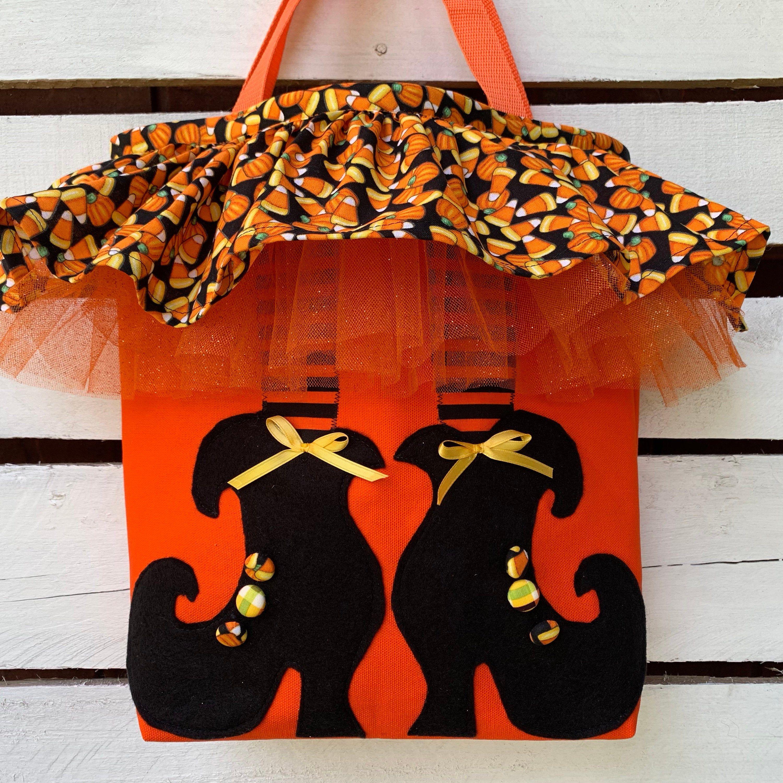 Handmade, Halloween, trickortreat tote bag has applique