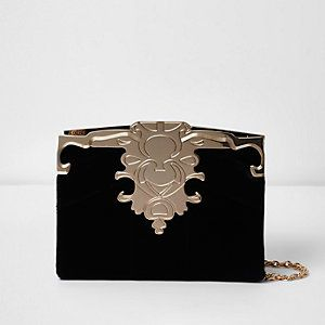 Black and gold tone patchwork velvet clutch