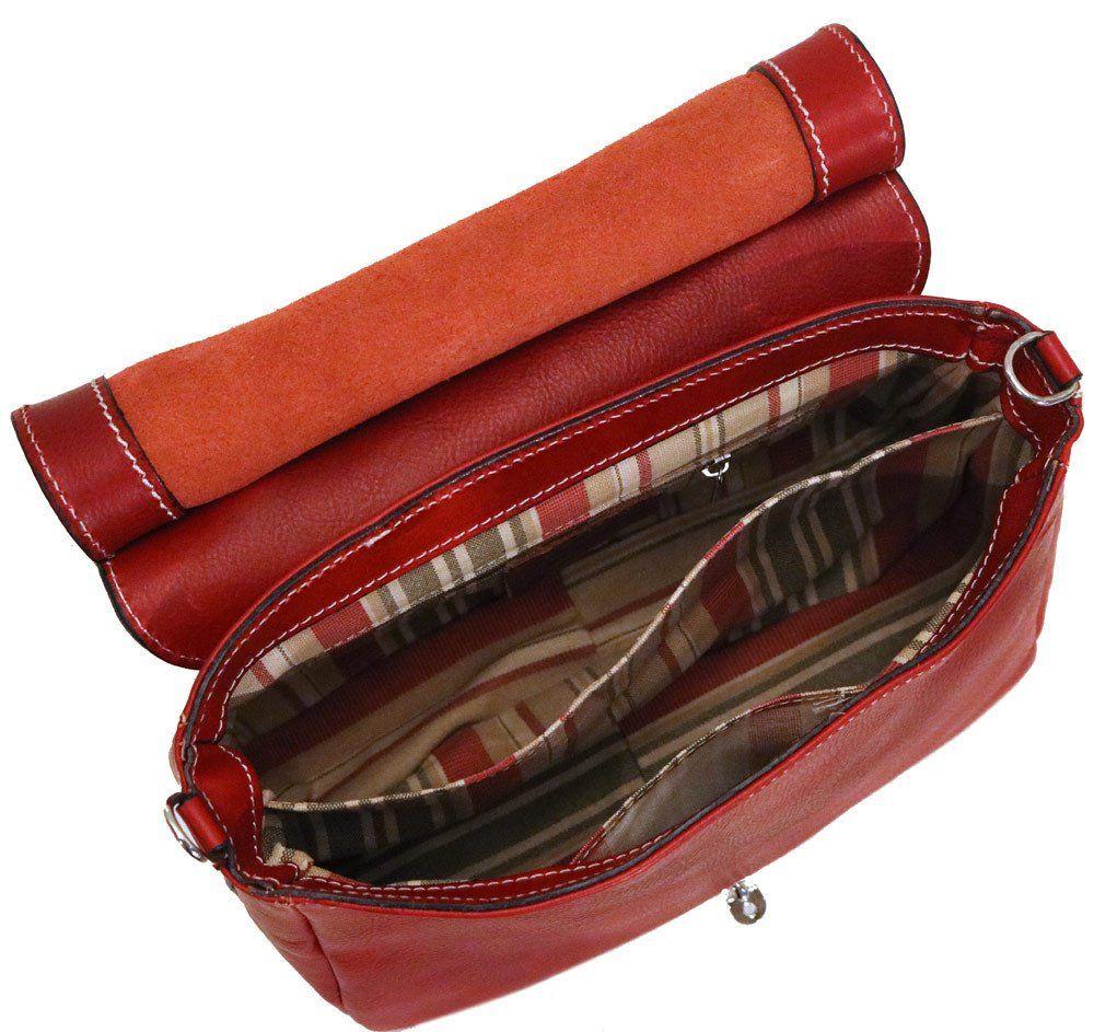 Floto Leather Bamboo Handle Saddle Bag