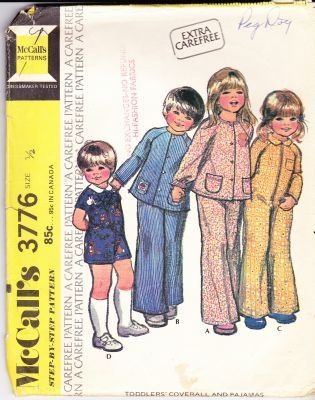 McCalls 3776 - 1970's Toddlers' jumpsuit and pajamas vintage sewing pattern.  Pattern is cut and complete.