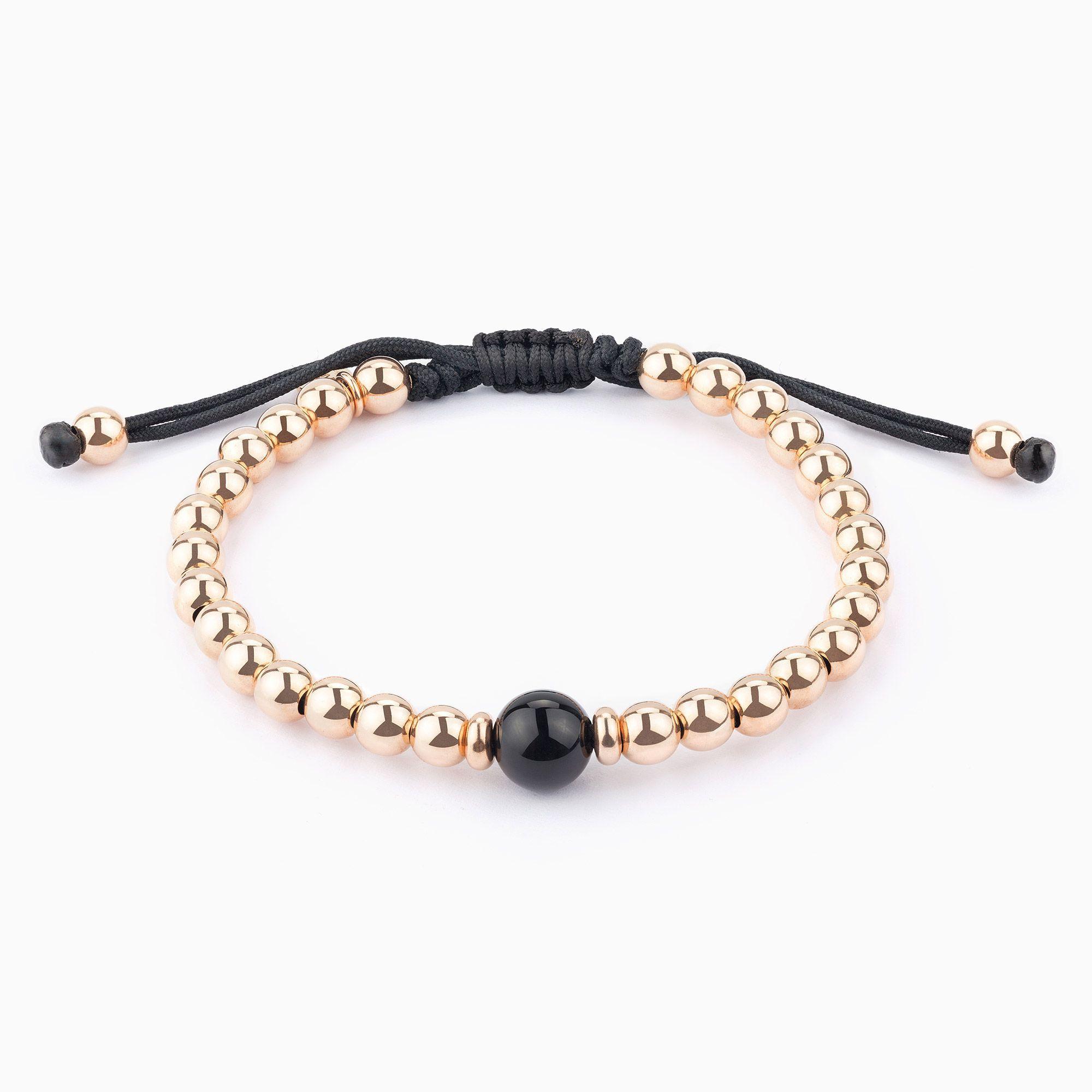 ffe177fc5c5b Pulsera de hilo con perlas de oro y Onix - Joyas | bisutería ...
