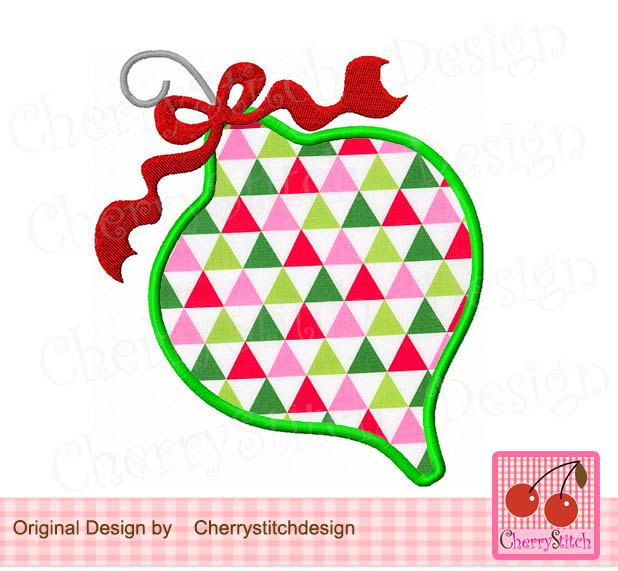 Christmas Ornament , Christmas Digital Applique -approximate 4x4 5x5 6x6 inch -Machine Embroidery Applique Design by CherryStitchDesign on Etsy