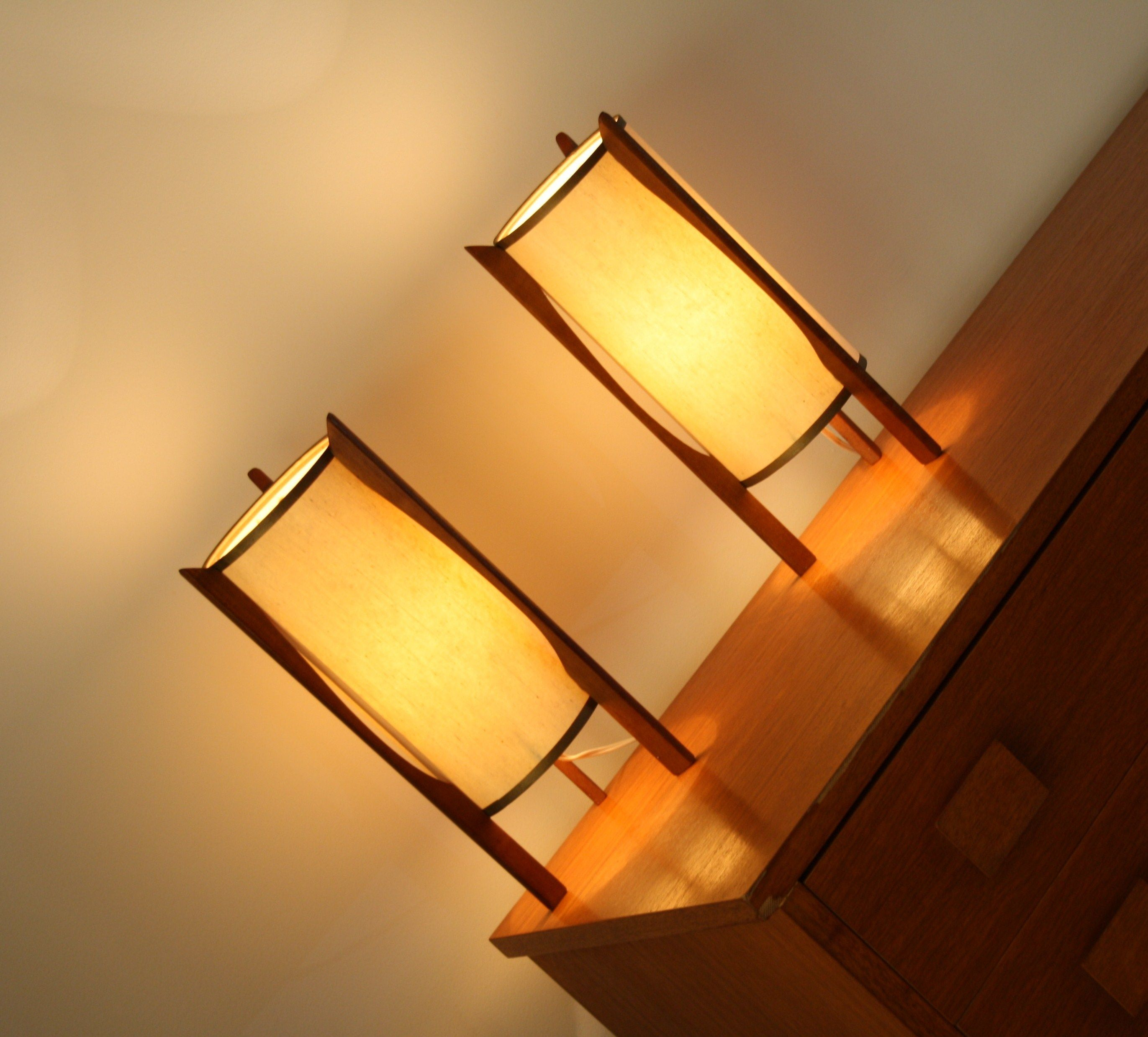 Mid Century Teak Rocket Lamps Retro Vintage