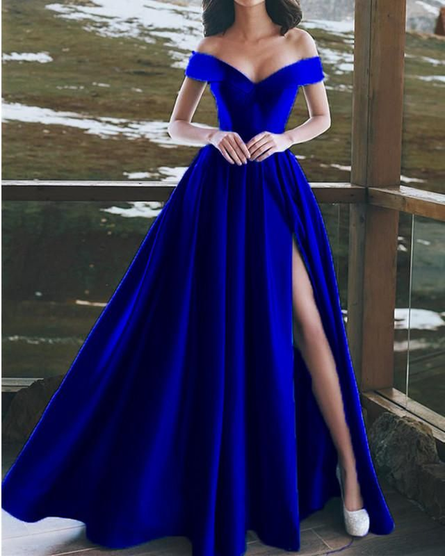 0c658aa64a70 Item Description : A Glamorous Form Satin Floor Length Dress Featuring A  V-neck With off the shoulder design,zipper back. Perfect For Prom,Evening, Formal ...